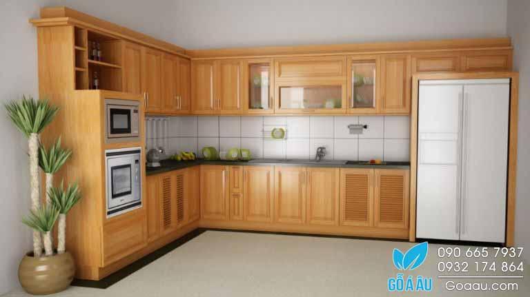 Tủ bếp gỗ Sồi nhập khẩu